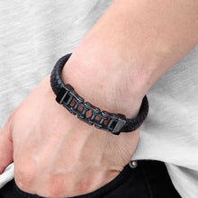 Load image into Gallery viewer, Bicycle Chain Stainless Steel Leather Bracelet - Bicycle Bits