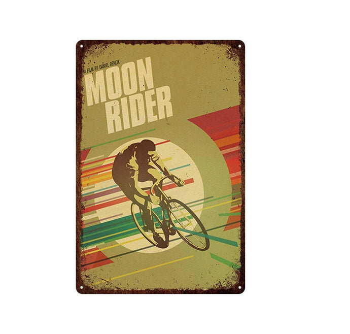 Retro Cycling Metal Sign - Moon - Bicycle Bits