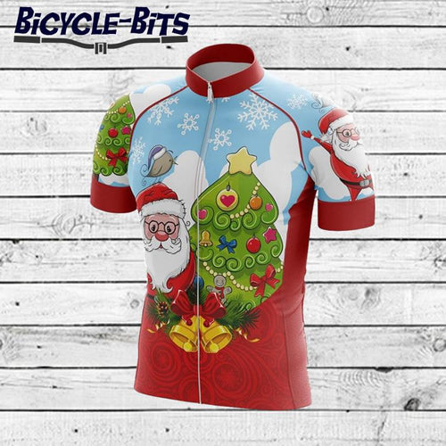 Men's Christmas Short Sleeve Cycling Jersey - Bicycle Bits