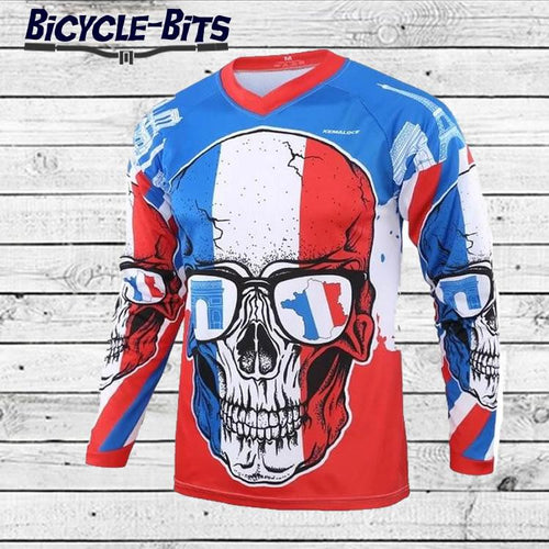 French Skull Long Sleeve MTB Jersey - Bicycle Bits