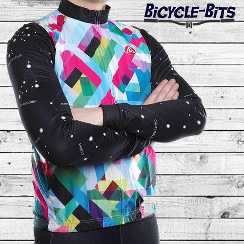 Geometric Daisy Windstopper Sleeveless Cycling Jacket - Bicycle Bits