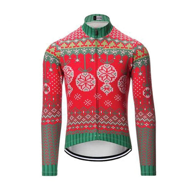 Christmas Baubles long sleeve thermal cycling jersey - Bicycle Bits