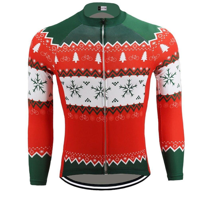 Christmas Snowflake long sleeve thermal cycling jersey - Bicycle Bits
