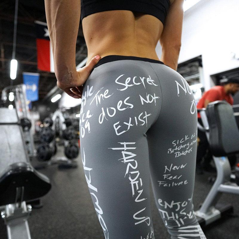 Text Printed Fitness Leggings