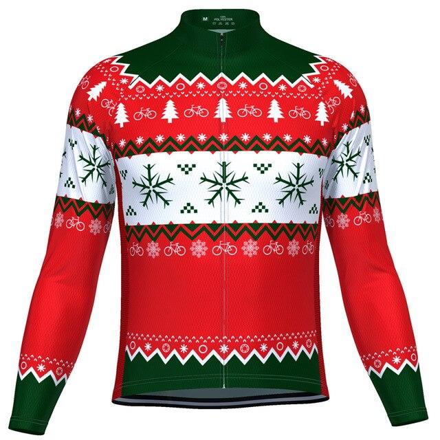 Men's Long Sleeve Christmas Jumper Cycling Jersey - Bicycle Bits