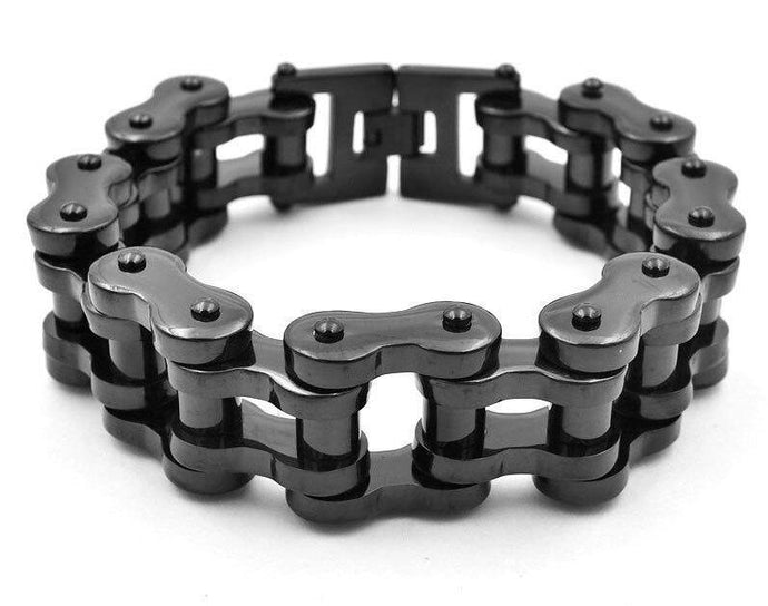 Stainless Steel Chain Bracelet - Black - Bicycle Bits