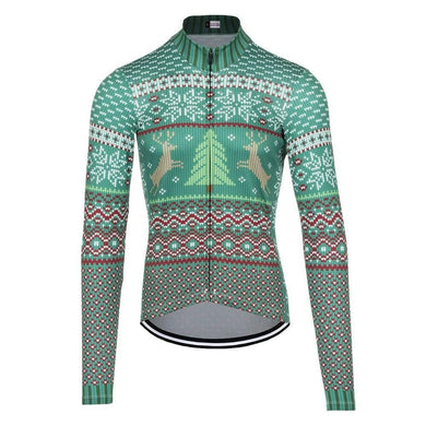 Christmas Tree long sleeve thermal cycling jersey - Bicycle Bits