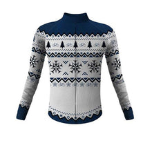 Load image into Gallery viewer, Christmas Snowflake long sleeve thermal cycling jersey - Bicycle Bits