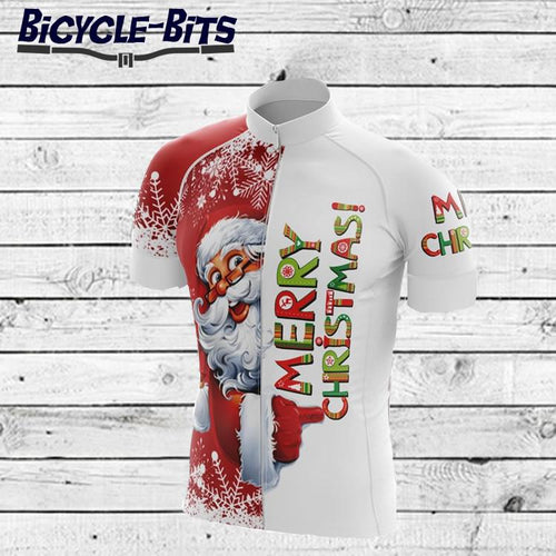 Men's Merry Christmas Short Sleeve Cycling Jersey - Bicycle Bits