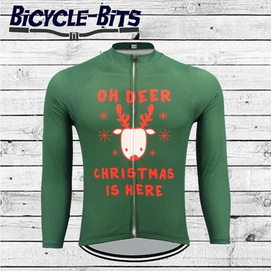 Christmas Reindeer long sleeve thermal cycling jersey - Bicycle Bits