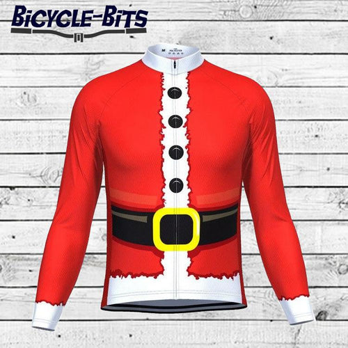 Men's Long Sleeve Santa Coat Cycling Jersey - Bicycle Bits