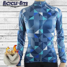 Load image into Gallery viewer, Women's Triangle Thermal Fleece Jersey -Blue - Bicycle Bits