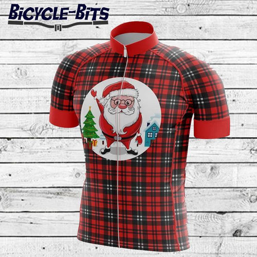 Men's Tartan Santa Short Sleeve Cycling Jersey - Bicycle Bits