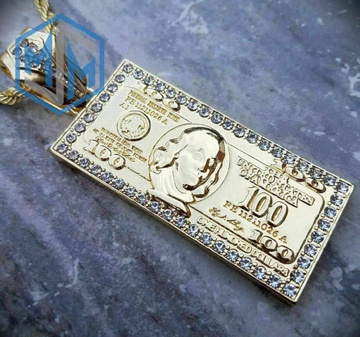 "Large Hundred Dollar Bill Benjamin Money Pendant w/ 5mm 30"" Rope Chain Necklace Pendant MSM"
