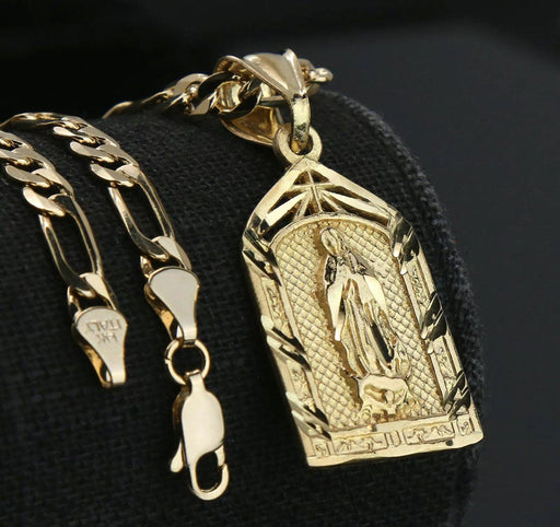 "Virgin Mary Temple 14k Gold PT Brass Pendant 18"" Figaro Necklace Choker Chain Pendant MSM"