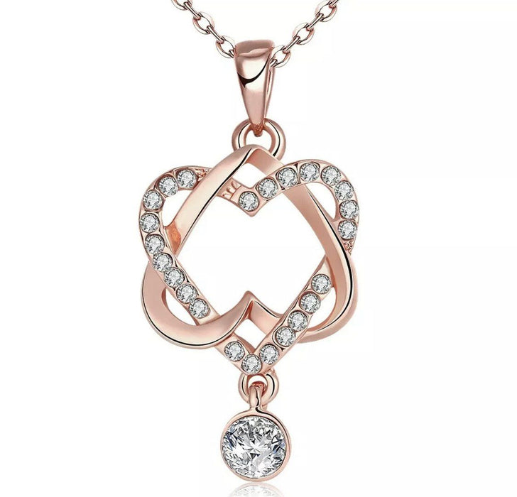 "Heart Pendant with 18"" Red Cubic Zirconia Necklace in 18K Gold-Plated Brass Necklace MSM Jewelers"
