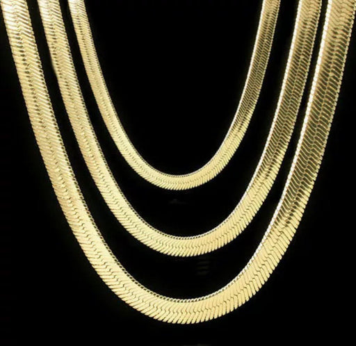 "Men & Lady 14K Gold Plated Flat 20""/24""/30""/36"" Herringbone Necklace Chain Necklace MSM"