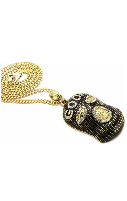 "🎁Great Gift | 14k Gold PT Iced Out Black Goon Ski Mask Man Pendant + Free 24"" Rope Cuban Chain Necklace Necklace MSM Jewelers"