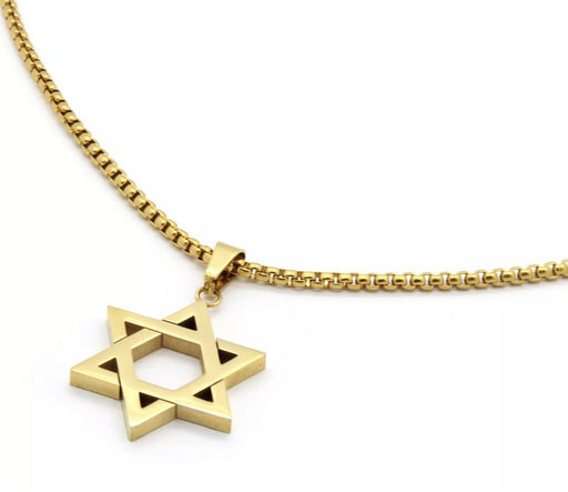 "Stainless Steel Gold Plated Star Of David Pendant 24"" Round Box Necklace Chain Pendant MSM"
