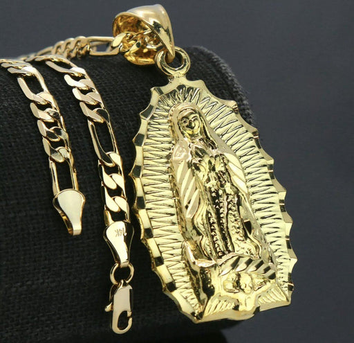 "Our lady of Guadalupe Catholic 14k Gold PT Brass Pendant 18"" Figaro Choker Chain Pendant MSM"