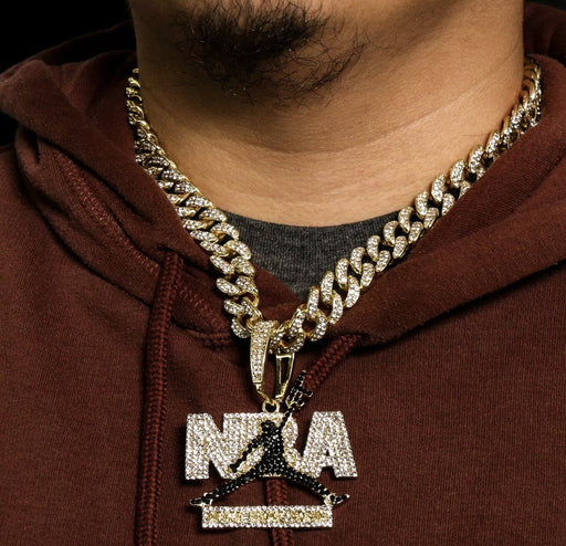 "NBA Jump Man Gun 14k Gold PT Fully ICED Miami Cuban Choker Chain 20"" Necklace Pendant MSM"