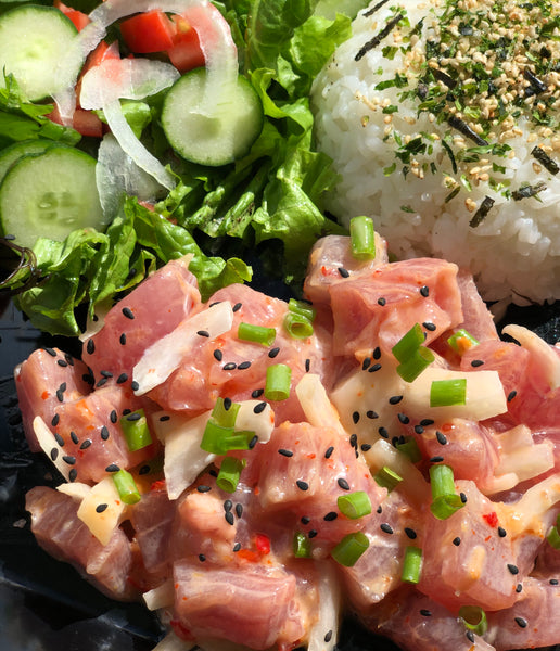 Mila, Mila-Lei - Always sweet and a little spicy. Fresh ahi tossed in chili pepper oil, Maui onion, green onion and a touch of sweet shiracha oil