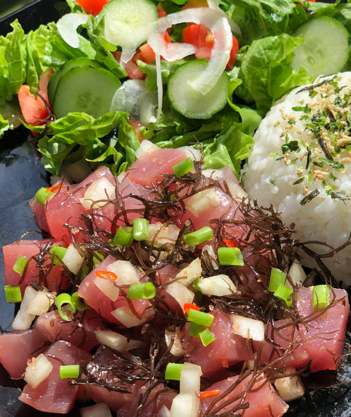 "The ""J Bone""- Our classic poke with alae salt, Maui onion, ogo, fresh red chili pepper, sesame oil, green onion and just a splash of Aloha Shoyu"