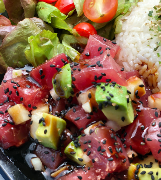 Da Godfaddah - Shoyu poke with Maui onion, fresh avocado, black sesame seeds and topped with unagi sauce
