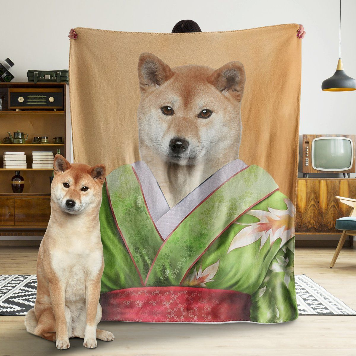 Funny Blanket - A Funny Dog With The Green Shirt Customized Photo Fleece Blanket