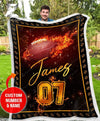 Fleece Blanket - Custom Blanket - Football Blanket - Fire