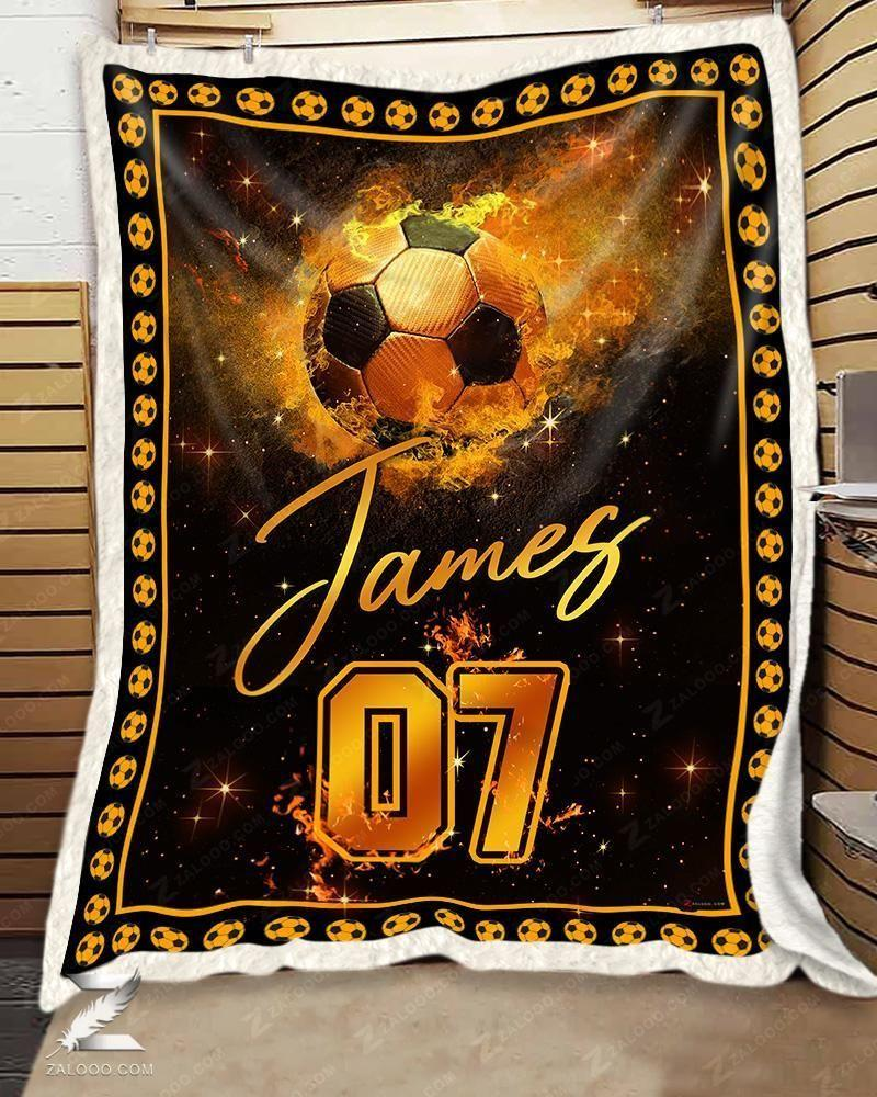 Fleece Blanket - Custom Blanket - Soccer Blanket - Fire