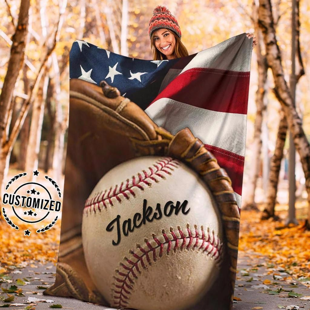 Custom Blanket Baseball And Flag