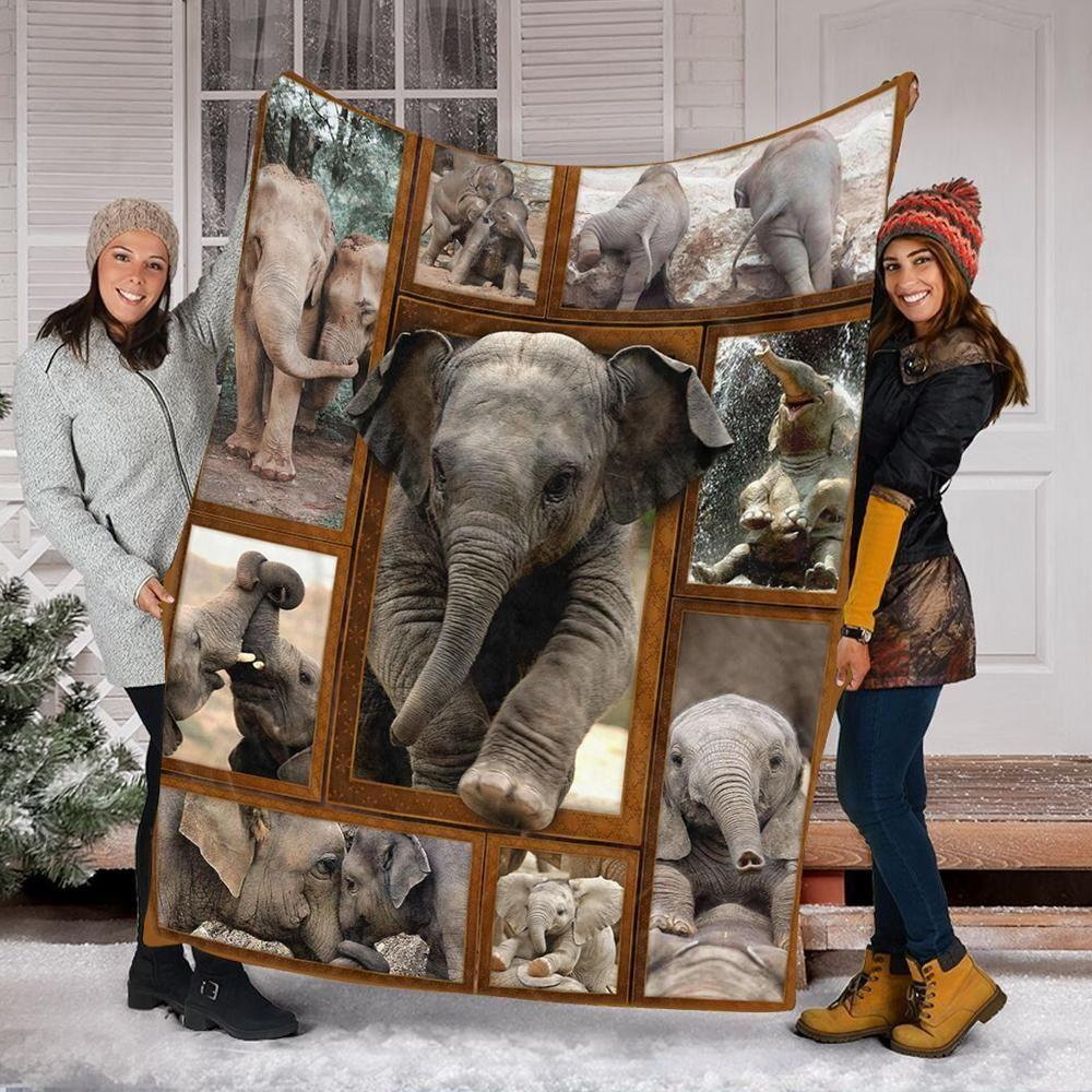 Custom Blanket Elephant Fleece Blanket For Animal Lovers