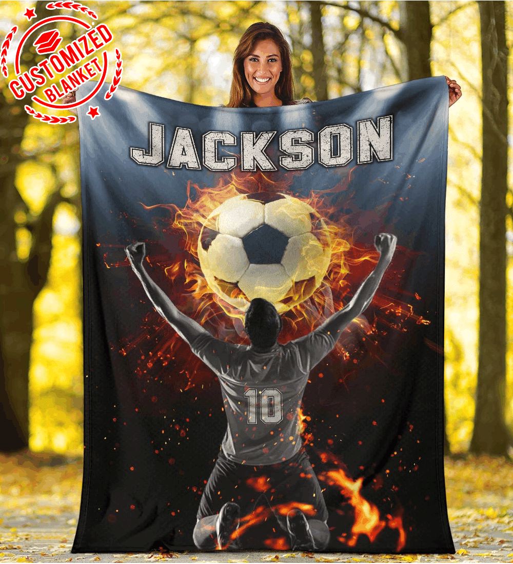 Custom Blanket Soccer Player With Fire Ball