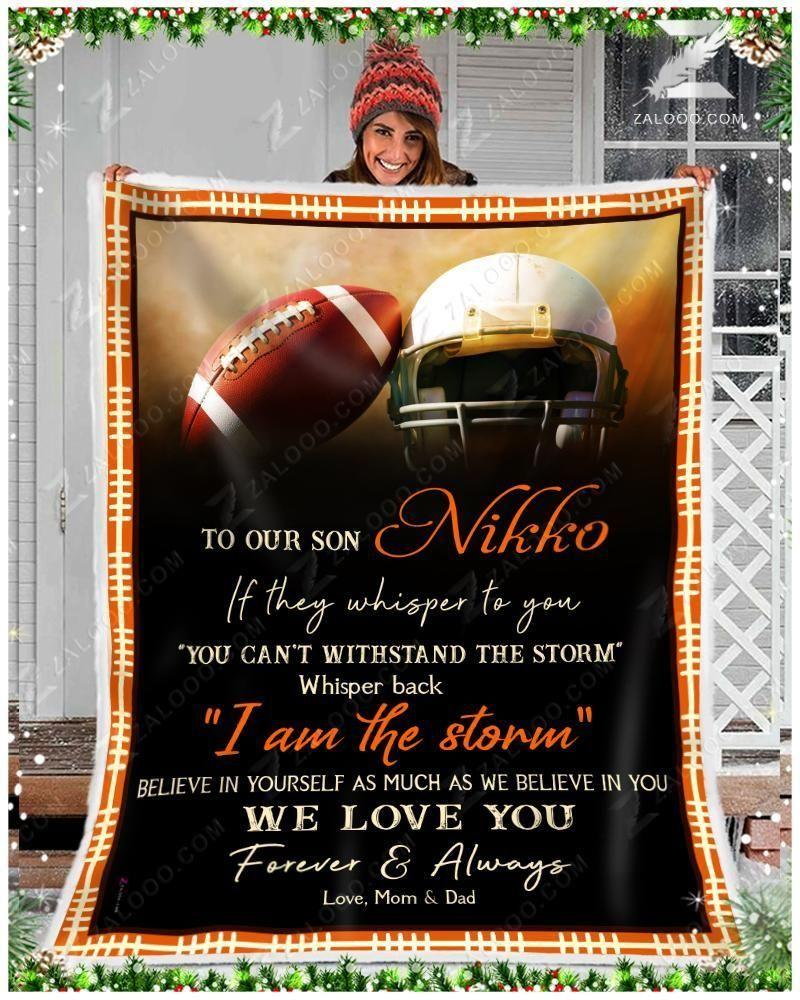 Custom Blanket - Football - To Our Son Nikko