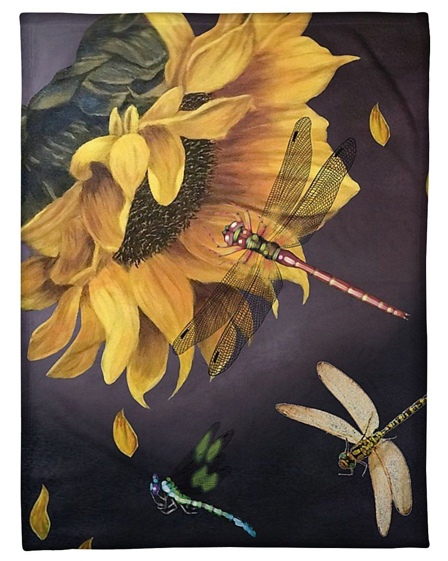 Dragonfly Sunflower Custom Design Gift For Dragonfly Lovers Fleece Blanket