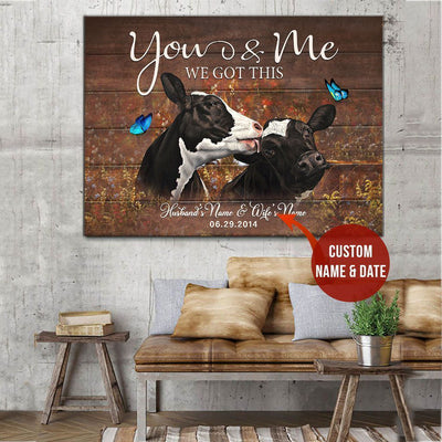 Dairy Cattle Cow Wall Art Wall Art - You And Me Cow - Custom Name , Wall Art Print Decor Gift  Husband And Wife And Date