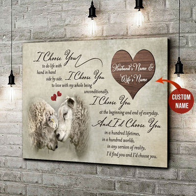 I Choose You Sheep Horizontal Wall Art Husband And Wife Custom Name