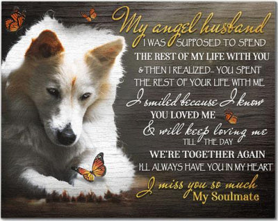 Matte Canvas - Canvas Wolf My Angel Husband - Print Wall Art