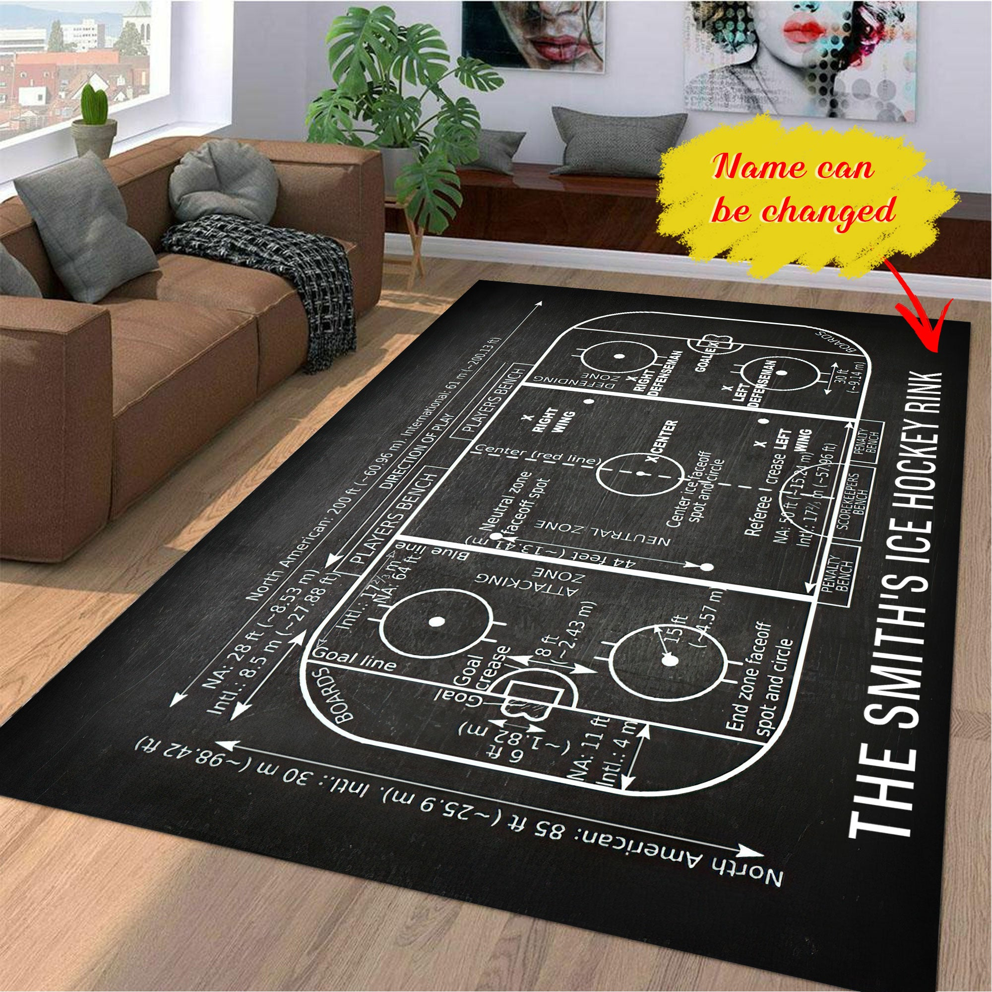 Personalized Ice Hockey Rink Gift Area Rug