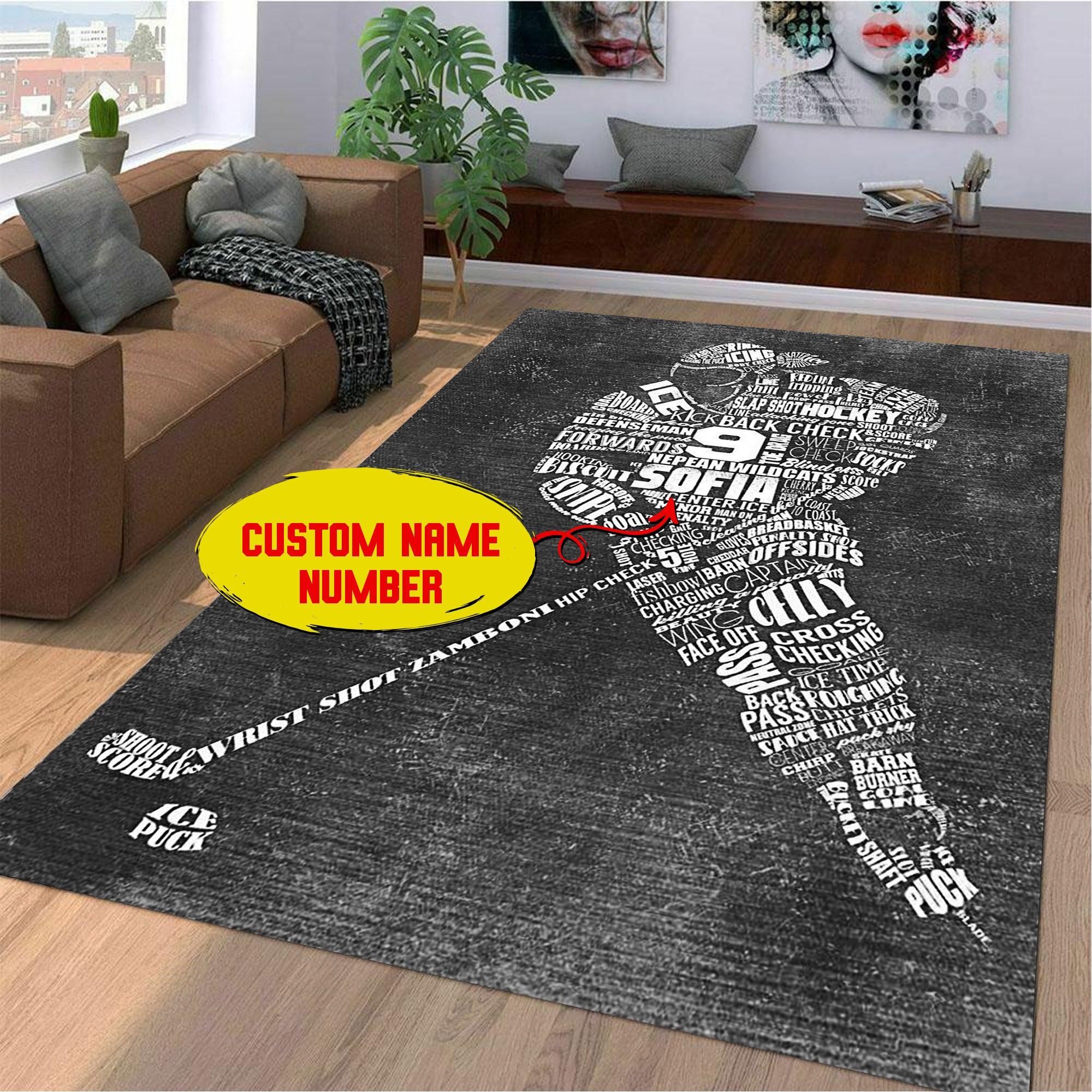 Personalized Female Ice Hockey Player Area Rug