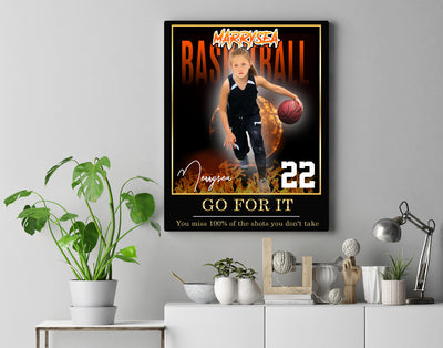 Personalized 'On Fire' Basketball Wall Art