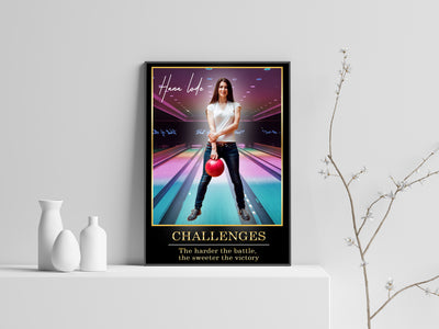 Personalized 'Neon Streaks' Bowling Wall Art
