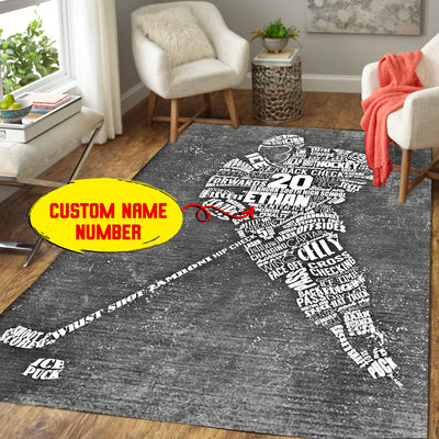 Personalized Male Ice Hockey Player Area Rug
