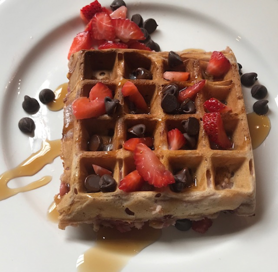 No-Fuss Belgian Waffle Batter + Strawberries for the WOW Factor