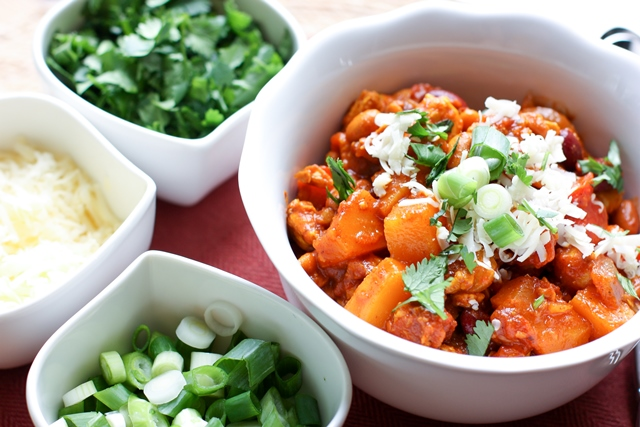 chipolte chili with tempeh and butternut squash - fall recipe