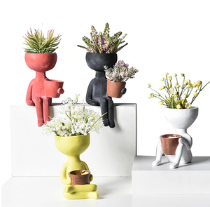 Human Ceramic Figurine Flower Plant Pot Vase