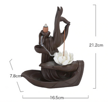 Load image into Gallery viewer, Backflow Incense Burner Ceramic Monk Buddha Hand Holder