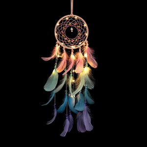 Wall Dreamcatcher  Led Handmade Feather Dream Catcher Braided Wind Chimes Art For room decoration Hanging home decor Decoration