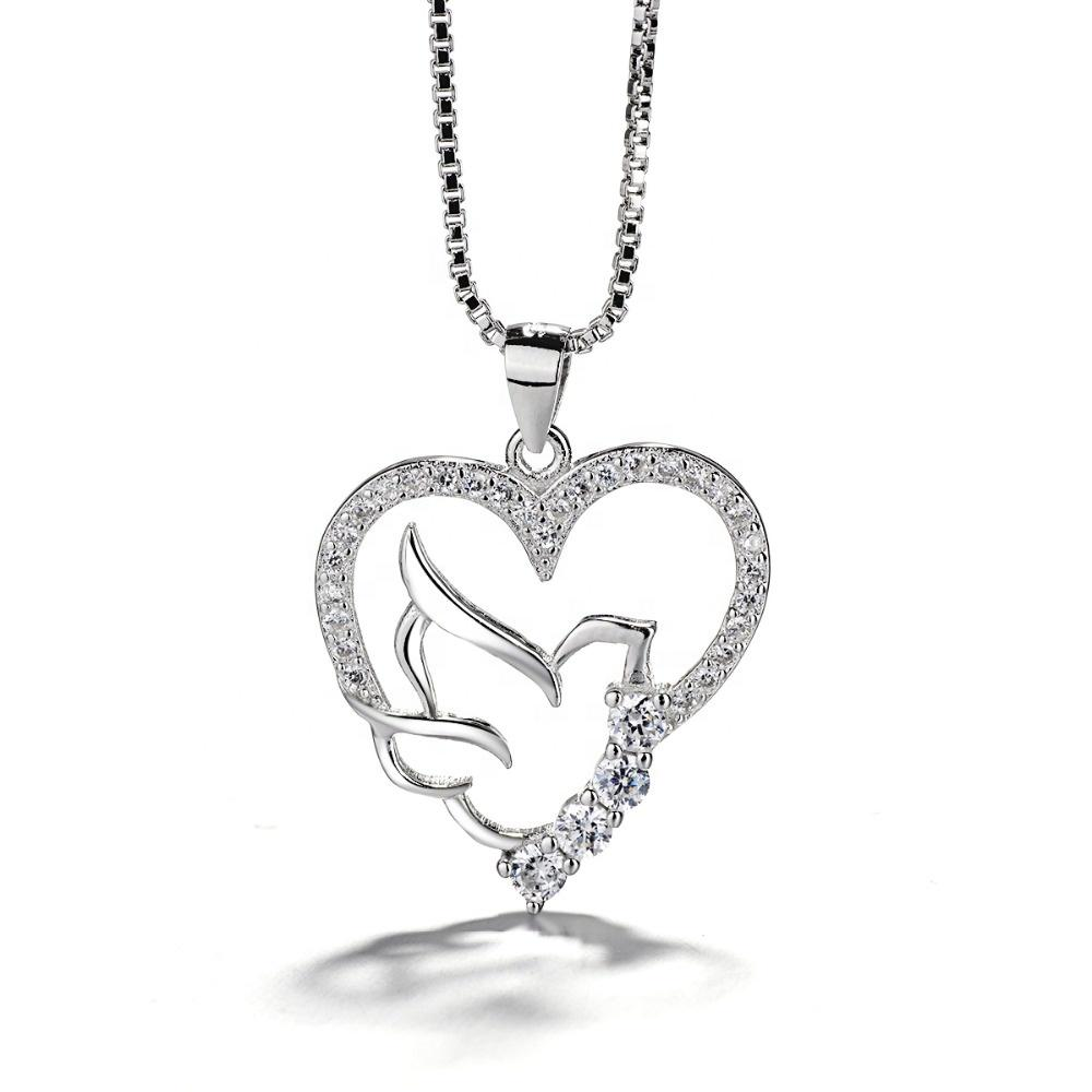 925 Sterling Silver Love Heart Pendant Necklace - The Silver Brand